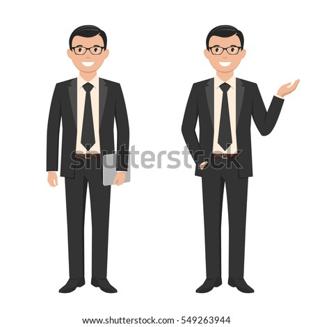 Vector illustration of a young cartoon style smiling businessman in a black suit