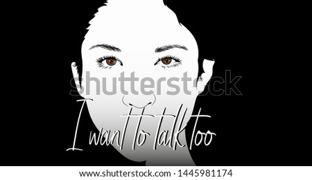 Vector illustration of a young dumb girl who also wants to say something.