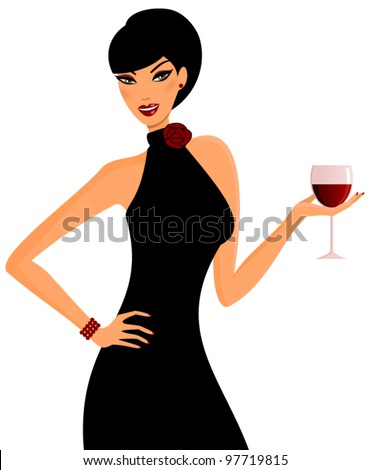 Vector illustration of a young elegant woman holding a glass of red wine.