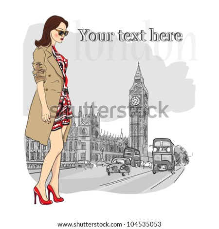 vector illustration of a young fashion girl  in london
