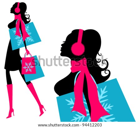 Vector illustration of a young fashionable woman holding shopping bags.