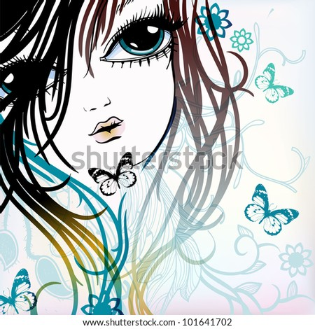 vector illustration of a young girl with flying butterflies on a floral background