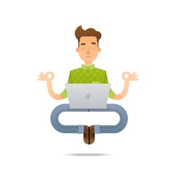 Vector illustration of a young man looking for a job or studying. Funny cartoon character of a person in a yoga pose.