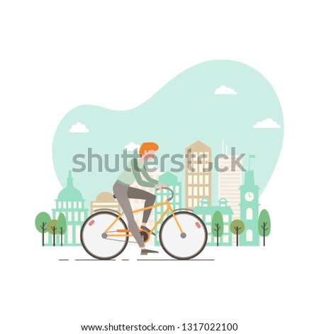 Vector illustration of a young man riding a bicycle. Modern city on the background