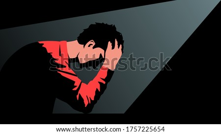 Vector illustration of a young man sitting in a dark room clasping his head in his hands with disturbing thoughts. Bright concept image of a despondent man thinking about future and regrets the acts