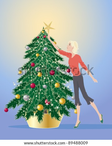 vector illustration of a young woman decorating a christmas tree in eps 10 format - stock vector