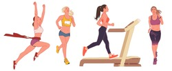 Vector illustration of a young woman in sportswear. Cartoon realistic people illustration. Flat young woman. Front, side and treadmill views. Athletic woman. Sports, training, running.
