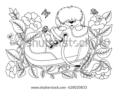 Vector Illustration Of A Zentangl Shaggy Puppy Sitting In Shoe Among The Flowers