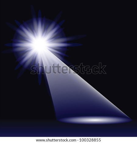 Vector illustration of abstract blue light with dark background