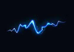 Vector Illustration of Abstract Blue Lightning on Black Background. Blitz Lightning Thunder Light Sparks Storm Flash Thunderstorm. Power Energy Charge Thunder Shock