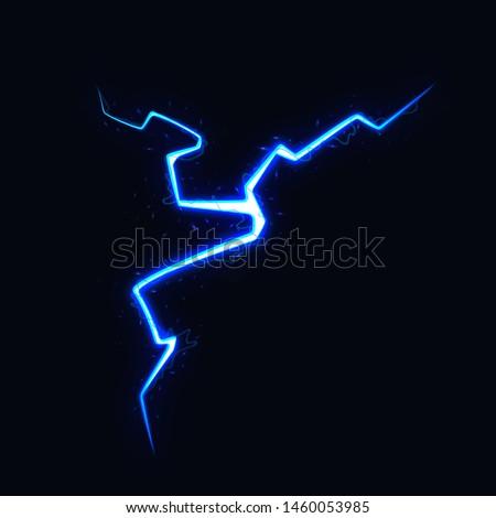 Vector Illustration of Abstract Blue Lightning on Black Background. Blitz Lightning Thunder Light Sparks Storm Flash Thunderstorm. Power Energy Charge Thunder Bolt