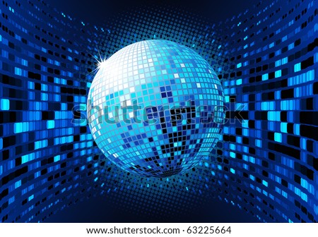 Vector illustration of abstract blue party Background with glowing lights and disco ball