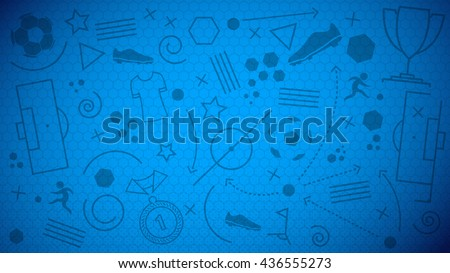 Vector illustration of abstract blue soccer background with different icons and football net pattern for your design