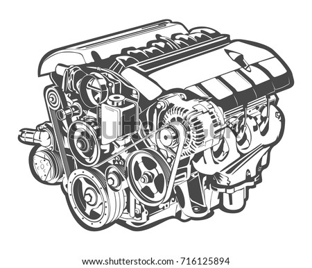 vector illustration of abstract car engine
