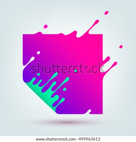 Vector illustration of abstract colored square. Abstract splash, liquid shape. Background for poster, cover, banner, placard. Logo design