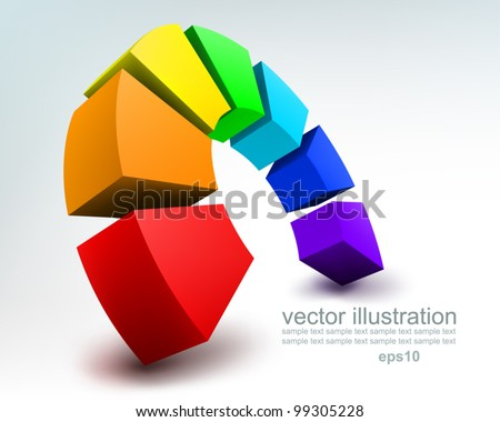 Vector Illustration of abstract colorful 3d rainbow, logo design