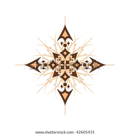 Vector illustration of abstract compass rose isolated on white