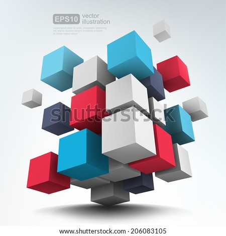 Vector Illustration of abstract 3d cubes. Background design.