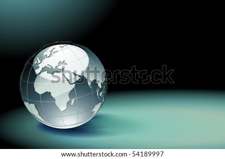 Vector illustration of abstract dark background resembling motion blurred light with Glossy Earth Globe