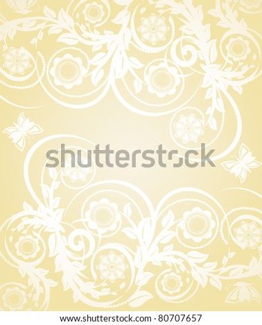 Vector illustration of abstract floral background with butterflies