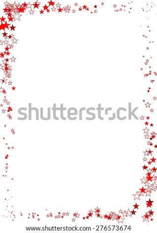 Vector illustration of abstract frame made of red stars on white background. #276573674