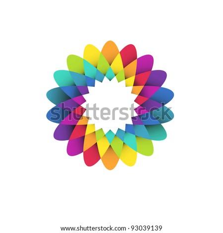 vector illustration of abstract geometric rainbow flower logo