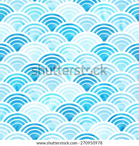 Vector illustration of abstract geometric seamless pattern with blue watercolor circles