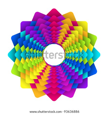 vector illustration of abstract geometric square rainbow flower logo