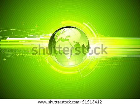Vector illustration of abstract green hi-tech Background with Glossy Earth Globe