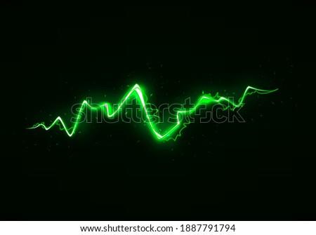 Vector Illustration of Abstract Green Lightning on Black Background. Blitz Lightning Thunder Light Sparks Storm Flash Thunderstorm. Power Energy Charge Thunder Shock