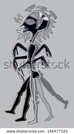 Vector illustration of abstract hand drawn sketch of ancient human being. Sculpture, godess, pagan.
