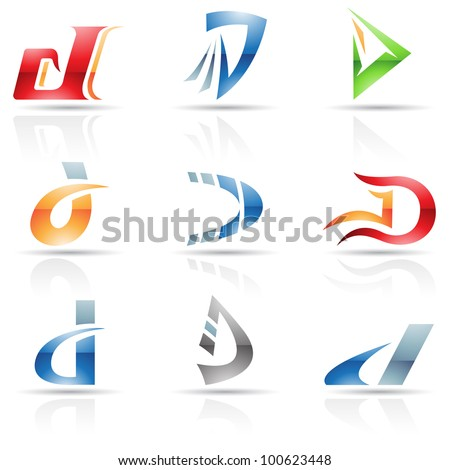 Vector illustration of abstract icons based on the letter D