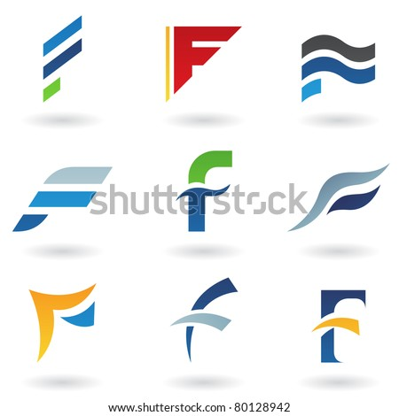 Vector illustration of abstract icons based on the letter F - stock vector