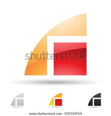 Vector illustration of abstract icons based on the letter R - stock vector