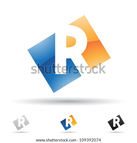 Vector illustration of abstract icons based on the letter R