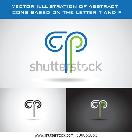 Vector illustration of abstract icons based on the letter T and P Stock fotó ©