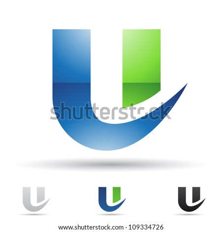 Vector illustration of abstract icons based on the letter U - stock vector