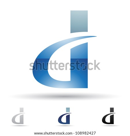 Vector illustration of abstract icons of letter D - Set 7