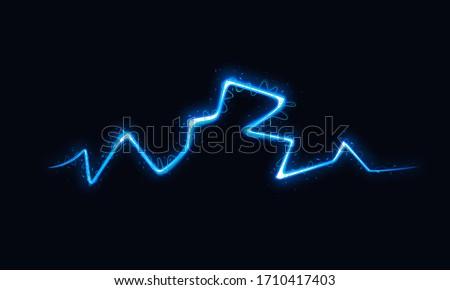 Vector Illustration of Abstract Lightning on Black Background. Blitz Lightning Thunder Light Sparks Storm Flash Thunderstorm. Power Energy Charge Thunder Shock