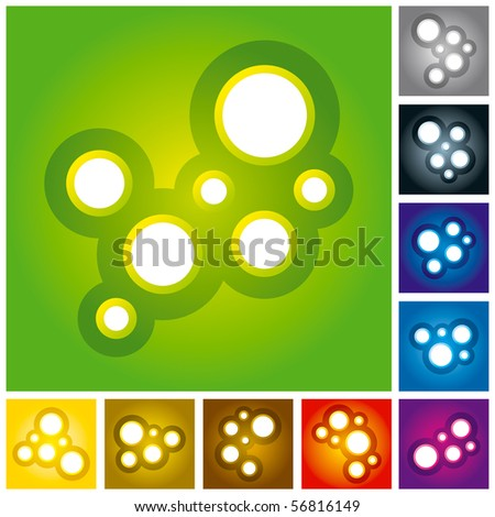 "Vector Illustration of Abstract Molecules or Bubbles - Multi Colored.  ""Full compatible. Created with gradients."""