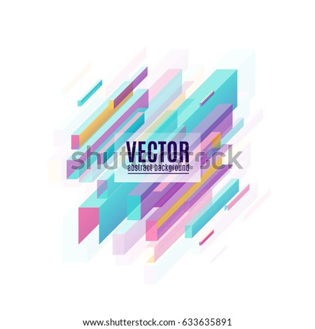 Vector illustration of abstract multicolored geometric decorative diagonal rectangles background isolated on white with light effect. Minimalistic design for lines creative concept