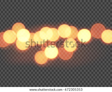 Vector illustration of abstract orange bokeh circles isolated on transparent background
