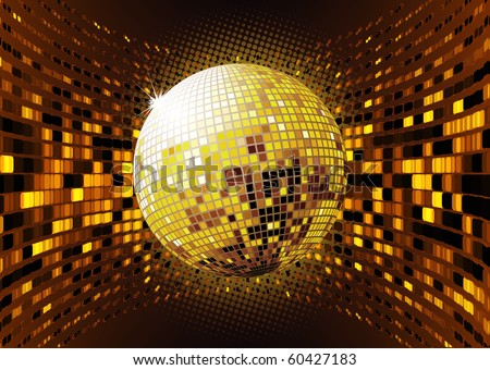 Vector illustration of abstract party Background with glowing lights and disco ball