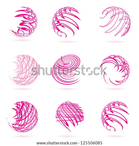 Vector illustration of abstract pink spheres.