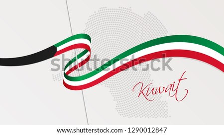 Vector illustration of abstract radial dotted halftone map of Kuwait and wavy ribbon with Kuwaiti national flag colors for your graphic and web design