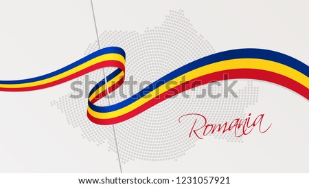 Vector illustration of abstract radial dotted halftone map of Romania and wavy ribbon with Romanian national flag colors for your graphic and web design