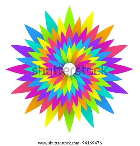 vector illustration of abstract rainbow flower design
