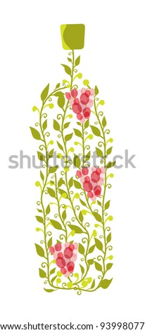 Vector illustration of abstract wine bottle from leaves and grape berries - stock vector