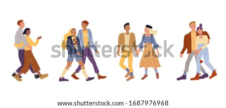 Vector illustration of active romantic couples set. Young woman and man walking together on date, holding hands. Happy partners hugging, smiling and talking. Flat cartoon character in love bundle