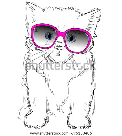vector illustration of adorable cat in pink glasses sketched cute